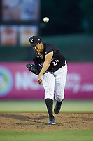Kannapolis Intimidators relief pitcher Andrew Perez (24) delivers a pitch to the plate against the Lakewood BlueClaws at Kannapolis Intimidators Stadium on July 7, 2018 in Kannapolis, North Carolina. The Intimidators defeated the BlueClaws 4-3 in 10 innings.  (Brian Westerholt/Four Seam Images)
