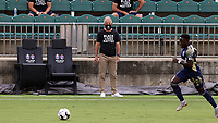 CARY, NC - AUGUST 01: Dave Sarachan watches the game from the sideline during a game between Birmingham Legion FC and North Carolina FC at Sahlen's Stadium at WakeMed Soccer Park on August 01, 2020 in Cary, North Carolina.