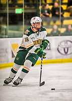 19 January 2018: University of Vermont Catamount Defenseman Matt O'Donnell, a Sophomore from Fountain Valley, CA, initiates a play during the first period against the University of Massachusetts Lowell Riverhawks at Gutterson Fieldhouse in Burlington, Vermont. The Riverhawks rallied to defeat the Catamounts 3-2 in overtime of their Hockey East matchup. Mandatory Credit: Ed Wolfstein Photo *** RAW (NEF) Image File Available ***