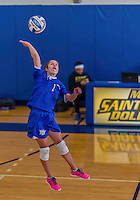 26 October 2014: Yeshiva University Maccabee Defensive Specialist Carol Jacobson, a Senior from Seattle, WA, in action against the Maritime College Privateers, at the College of Mount Saint Vincent, in Riverdale, NY. The Privateers defeated the Maccabees 3-0 in the NCAA Division III Women's Volleyball Skyline matchup. Mandatory Credit: Ed Wolfstein Photo *** RAW (NEF) Image File Available ***
