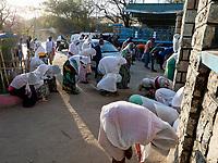 ETHIOPIA , Dire Dawa, St. Marry`s ethiopian orthodox church, morning prayer / AETHIOPIEN, Dire Dawa, orthodoxe St. Marry Kirche, morgendlicher Gottesdienst