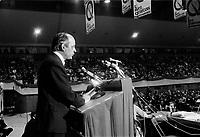 ARCHIVE -<br />  Congres du Mouvement Souvrainetee-ssociation - Rene Levesque et les membres du nouveau parti Quebecois <br /> Date : Entre le 13 et le 19 octobre 1968<br /> <br />  PHOTO :  © Agence Québec Presse, Fonds Photo Moderne