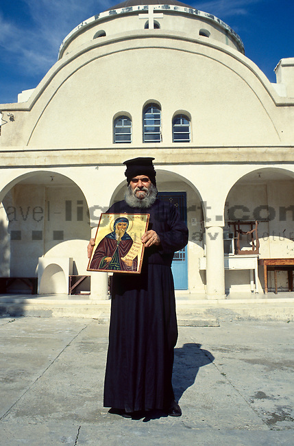 "Priest ""Dion"" with Holy Painting, Ayios Georgios Monastery, East of Limassol, Cyprus, Zypern."
