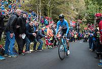 Hugo Houle (CAN/AG2R-La Mondiale) up Mount Fløyen<br /> <br /> Men Elite Individual Time Trial<br /> <br /> UCI 2017 Road World Championships - Bergen/Norway