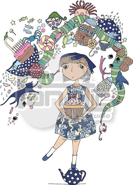 Illustrative image of woman celebrating birthday over white background
