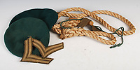BNPS.co.uk (01202 558833)<br /> Pic: LindsayBurns/BNPS<br /> <br /> Pictured: Marine Jock Mathieson's two green berets.<br /> <br /> The medals, weapons and personal effects of a hero D-Day commando have sold for over £11,000 - 22 times their estimate.<br /> <br /> Marine Jock Mathieson narrowly escaped death during the Normandy landings on June 6, 1944.<br /> <br /> A bullet pierced the fuel tank of his motorbike which he was carrying above his head while wading through the sea towards Juno Beach.