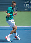 July 22,2016:   Jack Sock (USA) loses to Ivo Karlovic (CRO) 7-6,  7-6, at the Citi Open being played at Rock Creek Park Tennis Center in Washington, DC, .  ©Leslie Billman/Tennisclix