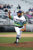 Anjul Hernandez (48) of the Everett AquaSox pitches against the Boise Hawks at Everett Memorial Stadium on July 21, 2017 in Everett, Washington. Boise defeated Everett, 10-4. (Larry Goren/Four Seam Images)