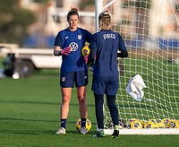 ORLANDO, FL - JANUARY 21: Alyssa Naeher #1 and Ashlyn Harris #18 of the USWNT talk during a training session at the practice fields on January 21, 2021 in Orlando, Florida.