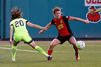 Rochester, NY - Saturday July 09, 2016: Seattle Reign FC midfielder Rumi Utsugi (20). Western New York Flash defender Elizabeth Eddy (4) during a regular season National Women's Soccer League (NWSL) match between the Western New York Flash and the Seattle Reign FC at Frontier Field.