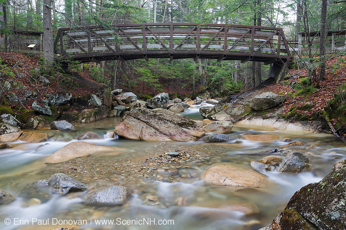 """The Pemigewasset River, just below the """"The Basin"""" viewing area, in Franconia Notch State Park of Lincoln, New Hampshire USA during the spring months."""