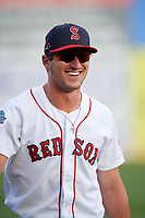 Salem Red Sox left fielder Jordan Wren (2) warms up before a game against the Lynchburg Hillcats on May 10, 2018 at Haley Toyota Field in Salem, Virginia.  Lynchburg defeated Salem 11-5.  (Mike Janes/Four Seam Images)
