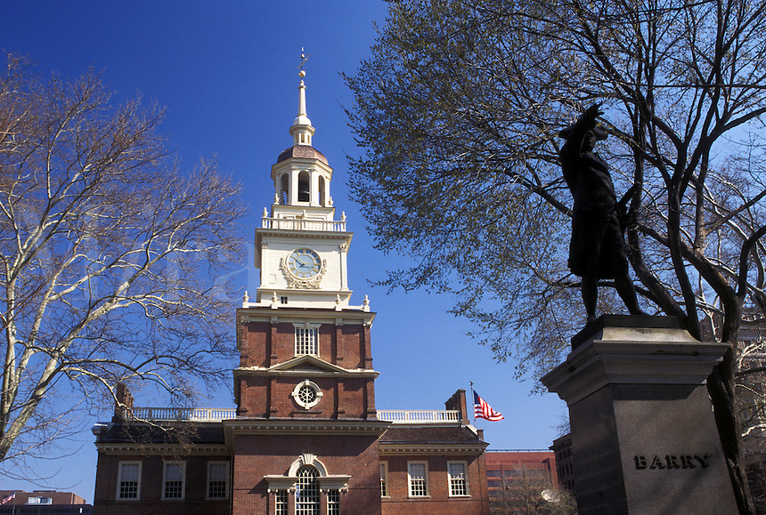 Independence Hall, Philadelphia, Pennsylvania, PA, Statue of George Washington outside Independence Hall at Independence National Historical Park in downtown Philadelphia.