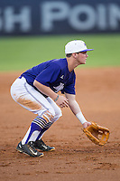 High Point Panthers third baseman Hunter Lee (2) on defense against the Davidson Wildcats at Willard Stadium on March 24, 2015 in High Point, North Carolina.  The Panthers defeated the Wildcats 15-2.  (Brian Westerholt/Four Seam Images)