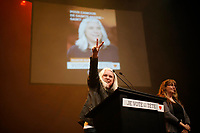 April 7, 2014 -   Manon Masse speak at  Quebec Solidaire gathering at Olympia theatre on election night. <br /> <br /> Photo : Alexa Enlow Malky