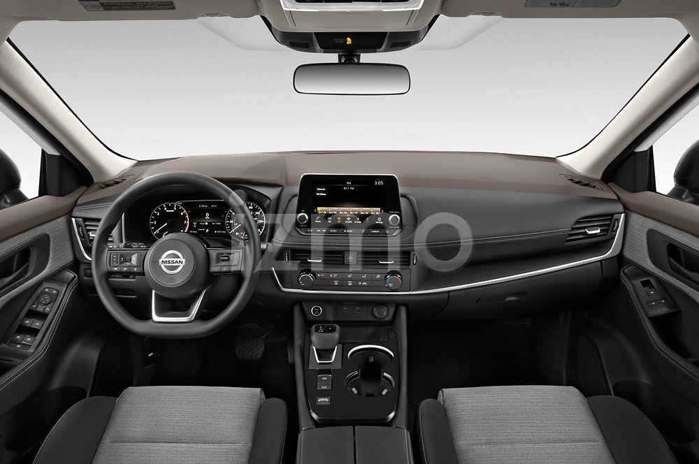 Stock photo of straight dashboard view of 2021 Nissan Rogue S 5 Door SUV Dashboard