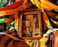 ATemple in Qinghai, China, displays a photo of the Dalai Lama 12 November 2008. Qinghai Province in western China borders Tibet and parts were the scenes of disturbance earlier this year, 2008.<br /> <br /> Photo by Richard Jones