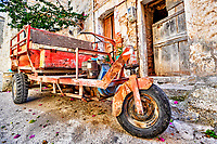 Ruined motorcycle in the medieval mastic village of Mesta on the island of Chios, Greece