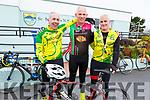 Moss McKenna (Killorglin Cycling Club), Paul Courtney (Killarney Cycling Club) and Keilen McHugh (Killorglin Cycling Club) at the St. Brendan's N.S Fenit Fundraiser Coastal Cycle on Saturday.