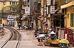 Urban Railway - Railway tracks crossing Nguyen Khuyen St, Hanoi, Viet Nam