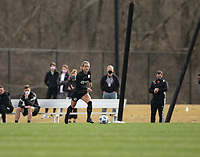 LOUISVILLE, KY - MARCH 13: Lauren Milliet #2 of Racing Louisville FC runs the ball up the field during a game between West Virginia University and Racing Louisville FC at Thurman Hutchins Park on March 13, 2021 in Louisville, Kentucky.