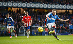 Martyn Waghorn scores his third and Rangers fifth goal from the penalty spot