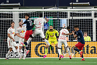 FOXBOROUGH, MA - MAY 22: Kyle Duncan #6 of New York Red Bulls deflects a corner kick during a game between New York Red Bulls and New England Revolution at Gillette Stadium on May 22, 2021 in Foxborough, Massachusetts.