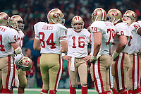 NEW ORLEANS, LA - Quarterback Joe Montana of the San Francisco 49ers in the huddle with his teammates during Super Bowl XXIV against the Denver Broncos at the Superdome in New Orleans, Louisiana on January 28, 1990. Photo by Brad Mangin.