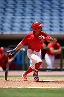 Clearwater Threshers second baseman Raul Rivas (13) follows through on a swing during a game against the Fort Myers Miracle on April 25, 2018 at Spectrum Field in Clearwater, Florida.  Clearwater defeated Fort Myers 9-5. (Mike Janes/Four Seam Images)