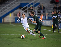 Santa Barbara, CA - Friday, December 7, 2018:  Akron men's soccer defeated Michigan State 5-1 in a semi-final match in the 2018 College Cup. Akron's Marcel Zajac defends.
