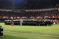 Pictured: A welsh choir entertaining the crowd before kick off. Saturday 15 November 2014<br />