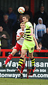 Dan Burn of Yeovil and Mark Roberts of Stevenage challenge for a header. Stevenage v Yeovil Town- npower League 1 -  Lamex Stadium, Stevenage - 13th April, 2013. © Kevin Coleman 2013.. . . . .. . . .  . . .  .