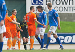 St Johnstone v Dundee Utd....21.04.12   SPL.Fran Sandaza squares up to Sean Dillon after he has been sent off.Picture by Graeme Hart..Copyright Perthshire Picture Agency.Tel: 01738 623350  Mobile: 07990 594431