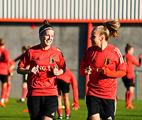 20200911 - TUBIZE , Belgium : Laura Deloose  and Sarah Wijnants pictured during the training session of the Belgian Women's National Team, Red Flames ahead of the Women's Euro Qualifier match against Switzerland, on the 28th of November 2020 at Proximus Basecamp. PHOTO: SEVIL OKTEM | SPORTPIX.BE