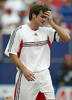 17 April 2004: DC United Ryan Nelsen reacts after missing a goal against MetroStars at Giants' Stadium in East Rutherford, New Jersey.  MetroStars defeated DC United, 3-2.