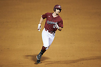 Josiah Sightler (12) of the South Carolina Gamecocks rounds the bases after hitting a home run against the North Carolina Tar Heels at Truist Field on April 6, 2021 in Charlotte, North Carolina. (Brian Westerholt/Four Seam Images)