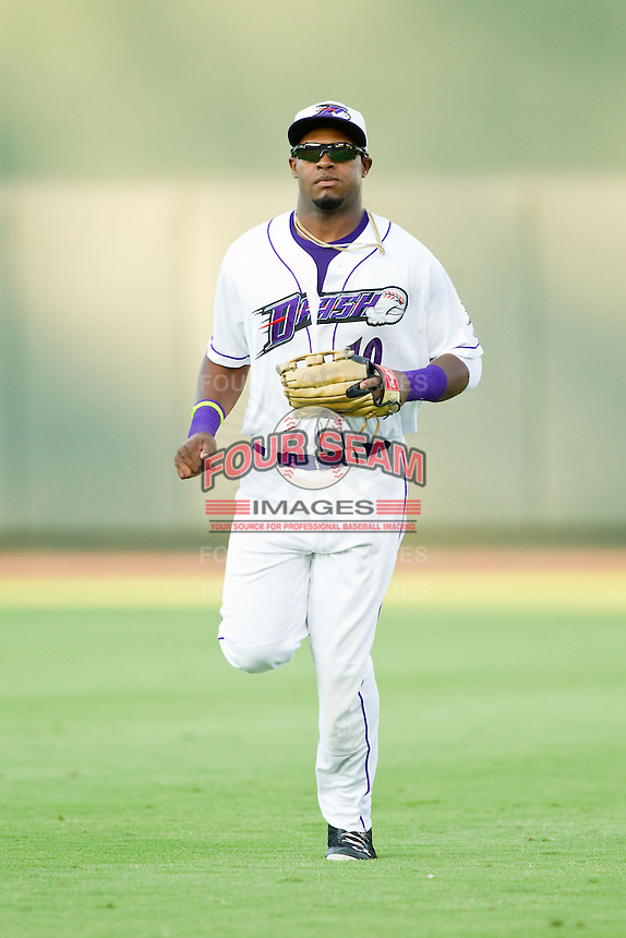 Winston-Salem Dash center fielder Courtney Hawkins (10) jogs off the field between innings of the Carolina League game against the Salem Red Sox at BB&T Ballpark on August 15, 2013 in Winston-Salem, North Carolina.  The Red Sox defeated the Dash 2-1.  (Brian Westerholt/Four Seam Images)