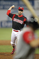 Batavia Muckdogs knuckleball pitcher Houston Summers (10) delivers a pitch during a game vs. the Lowell Spinners at Dwyer Stadium in Batavia, New York July 14, 2010.   Batavia defeated Lowell 12-2.  Photo By Mike Janes/Four Seam Images