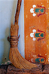 Broom and painted wall design-from the California mission era (late 1700's) at Mission San Miguel Arcangel, the 16th mission founded on the California mission trail. San Miguel, California.