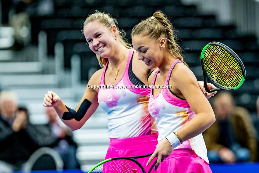 Alphen aan den Rijn, Netherlands, December 21, 2019, TV Nieuwe Sloot,  NK Tennis, Final woman's doubles: winners Sem Wensveen (NED) and  Dominique Karregat (NED) (L) embrace<br /> Photo: www.tennisimages.com/Henk Koster