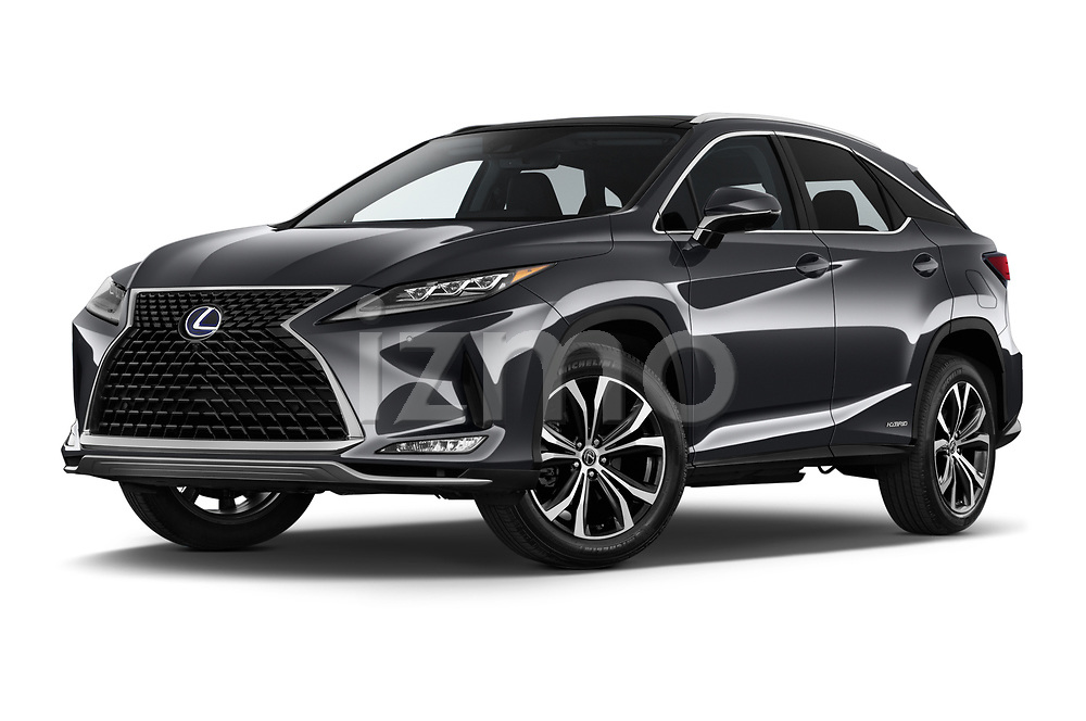 Stock pictures of low aggressive front three quarter view of a 2020 Lexus RX Hybrid 450h 5 Door SUV