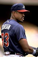 Brian Jordan of the Atlanta Braves during a 2001 season MLB game at Dodger Stadium in Los Angeles, California. (Larry Goren/Four Seam Images)