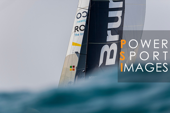 Boats sail at the start of the Volvo Ocean Race Leg 4 Sanya-Auckland on February 8, 2015 in Sanya, China. The Volvo Ocean Race 2014-15 is the 12th running of this ocean marathon. Starting from Alicante in Spain on October 11, 2014, the route, spanning some 39,379 nautical miles, visits 11 ports in 11 countries (Spain, South Africa, United Arab Emirates, China, New Zealand, Brazil, United States, Portugal, France, the Netherlands and Sweden) over nine months. The Volvo Ocean Race is the world's premier ocean race for professional racing crews. Photo by Victor Fraile / Power Sport Images