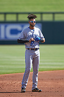 Peoria Javelinas shortstop Lourdes Gurriel (21), of the Toronto Blue Jays organization, during an Arizona Fall League game against the Salt River Rafters on October 16, 2017 at Salt River Fields at Talking Stick in Scottsdale, Arizona.  Peoria defeated Salt River 6-2.  (Zachary Lucy/Four Seam Images)