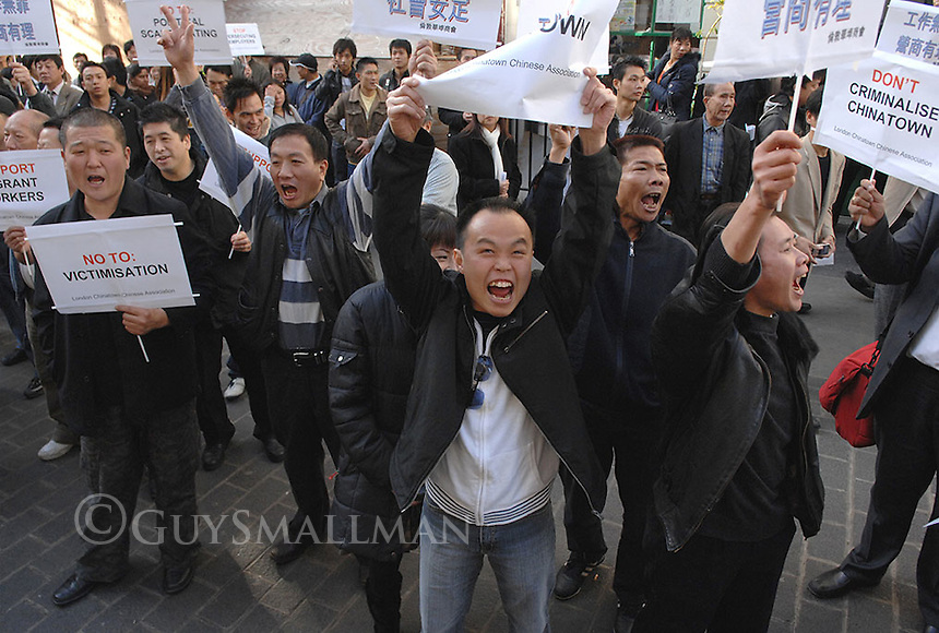 One week after raids by the immigration services that arrested 49 people working in Chinatown on immigration charges. A demonstration is organised by the local community against the repression. Restaurants were closed and effectively on strike for the duration of the protest.