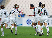 Becky Sauerbrunn and Shannon Boxx of the USA celebrate Boxx's game winning goal. The United States defeated China 1-0 during the finals of the Four Nations Tournament in Guangzhou, China on January 20, 2008.