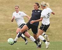 Abby Wambach (blue) of the Washington Freedom pokes the ball away from Christie Shaner  of Sky Blue F.C. during a WPS pre season match at Maryland Soccerplex, in Boyd's, Maryland on March 14 2009. Sky Blue won the match 1-0