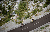 yellow jersey / GC leader Primoz Roglic (SVK/Jumbo-Visma) & teammate Sepp Kuss (USA/Jumbo-Visma) up the finish climb & the highest peak of the 2020 #TdF: the Col de la Loze (HC/2304m/21,5km @7,8%)<br /> <br /> Stage 17 from Grenoble to Méribel - Col de la Loze (170km)<br /> <br /> 107th Tour de France 2020 (2.UWT)<br /> (the 'postponed edition' held in september)<br /> <br /> ©kramon