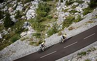 yellow jersey / GC leader Primoz Roglic (SVK/Jumbo-Visma) & teammate Sepp Kuss (USA/Jumbo-Visma) up the finish climb & the highest peak of the 2020 #TdF: the Col de la Loze (HC/2304m/21,5km @7,8%)<br /> <br /> Stage 17 from Grenoble to Méribel - Col de la Loze (170km)<br /> <br /> 107th Tour de France 2020 (2.UWT)<br /> (the 'postponed edition' held in september)<br /> <br /> ©kramon