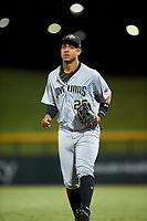 Peoria Javelinas right fielder Julio Rodriguez (25), of the Seattle Mariners organization, jogs off the field between innings of an Arizona Fall League game against the Mesa Solar Sox on September 21, 2019 at Sloan Park in Mesa, Arizona. Mesa defeated Peoria 4-1. (Zachary Lucy/Four Seam Images)